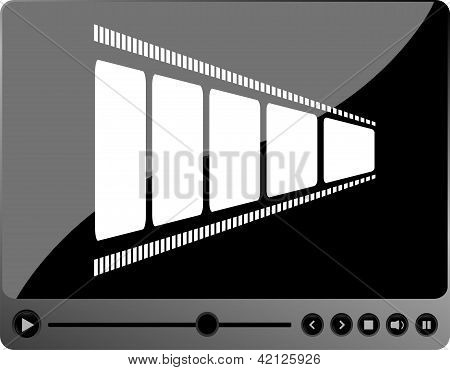 Video Movie Player Interface With Film Strip And Metal Buttons
