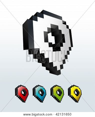 Set of cursor map pointer icon buttons vector illustration