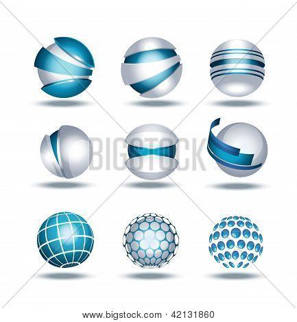 Globe sphere 3d icons set vector illustration