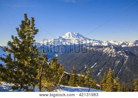 Mount Rainier in winter dress