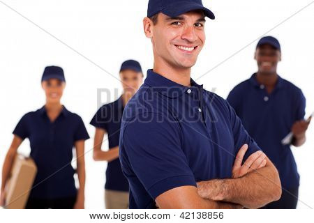 group of professional IT technicians on white background
