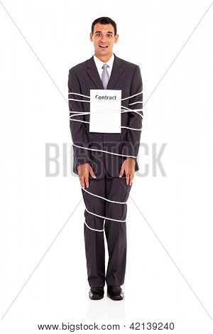 businessman tied with contract full length isolated on white