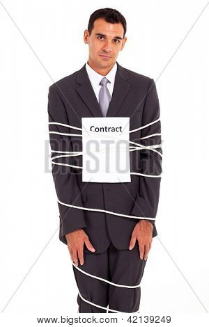 sad businessman tied with contract isolated on white