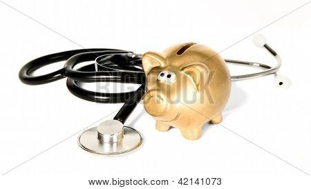 Medicine Stethoscope With Golden Money-box