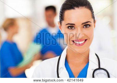 beautiful medical nurse closeup portrait
