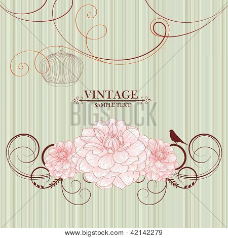 Vintage floral frame with  bird and flower dahlia. Element for design.