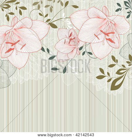 Hand-drawing floral background with flower amaryllis. Element for design.