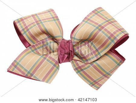 Beige plaid ribbon bow