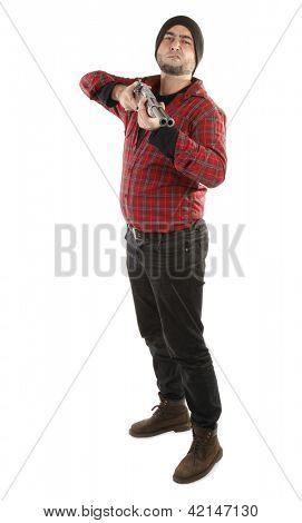 Rude man with shotgun