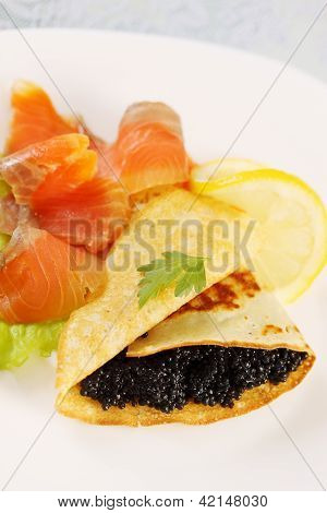 Flapjack, Caviar And Salmon