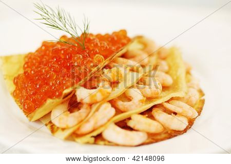 Pancake With Shrimp And Caviar