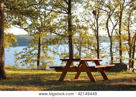 Picnic table near a lake
