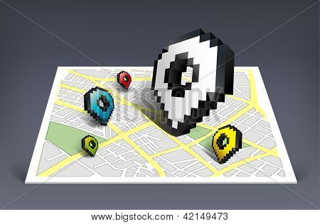 Map pointer cursor icon with city map vector illustration