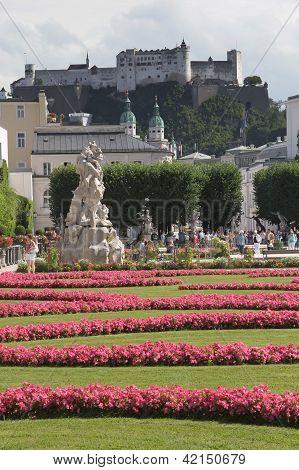 Mirabell Gardens And Hohensalzburg (salzburg, Austria)