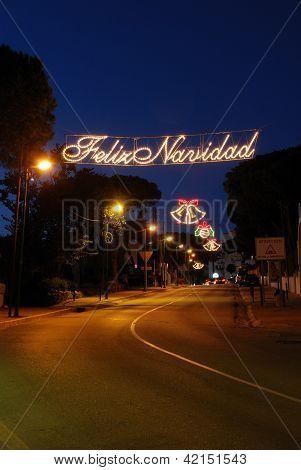 Christmas streetlights, Andalusia, Spain.