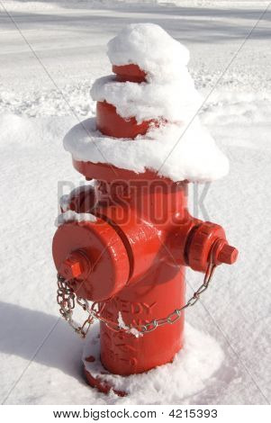 Red Fireplug In The Snow