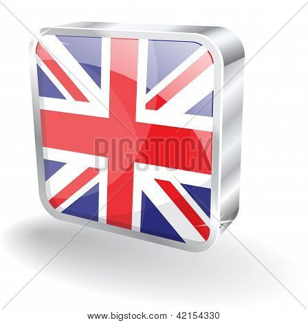 3d Glossy UK England Flag Vector Icon