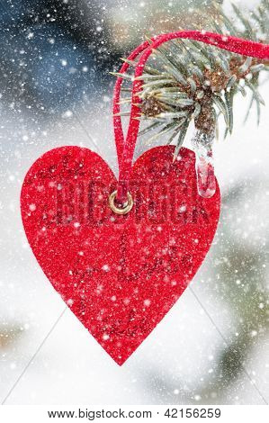 heart at snow on fir tree