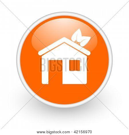 home orange circle glossy web icon on white background