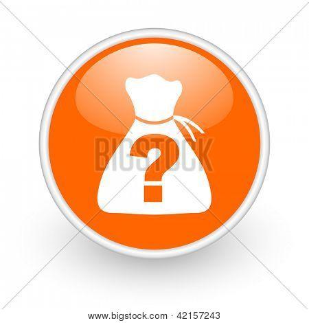riddle orange circle glossy web icon on white background