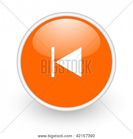 prev orange circle glossy web icon on white background