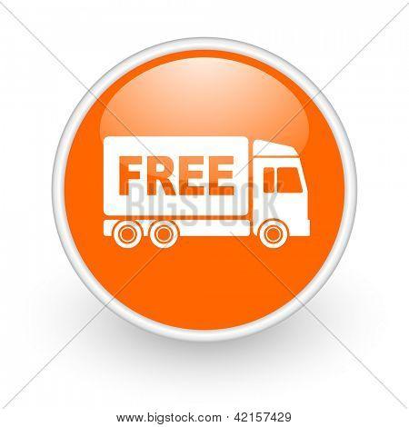 free delivery orange circle glossy web icon on white background