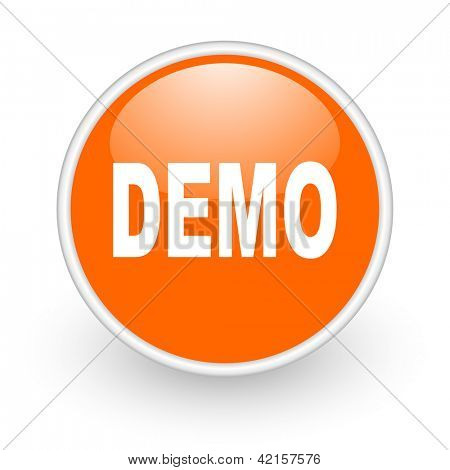 demo orange circle glossy web icon on white background