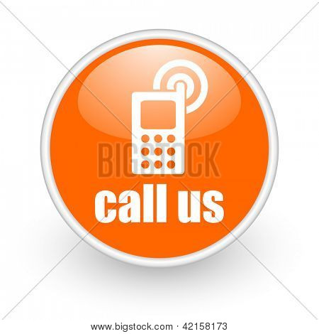call us orange circle glossy web icon on white background