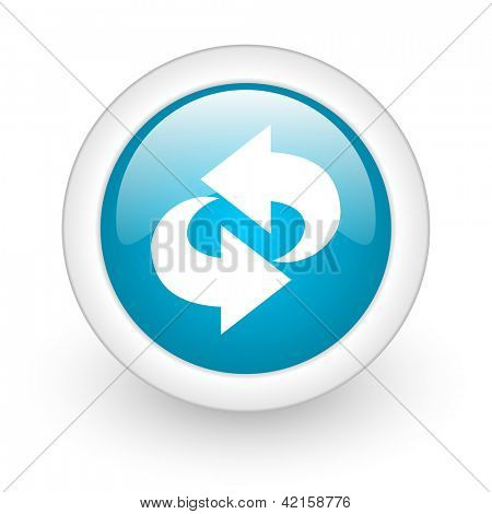 rotate blue circle glossy web icon on white background