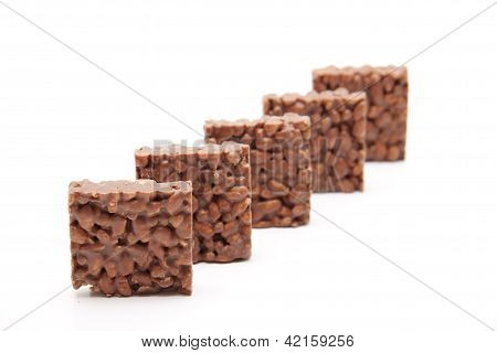 Puffed Rice with Chocolate on white background