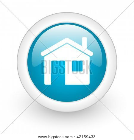 home blue circle glossy web icon on white background