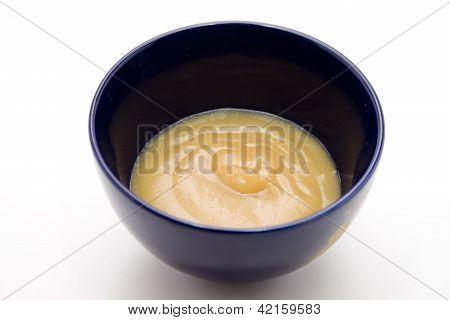 Fresh Applesauce in Blue Bowl