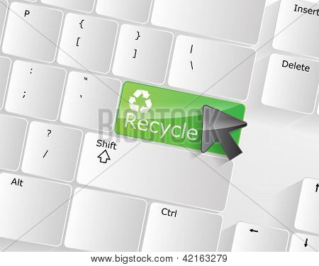 Computer Keyboard - Green Key Recycle, Close-up
