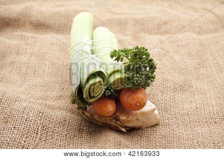 Soup vegetables on underlayment