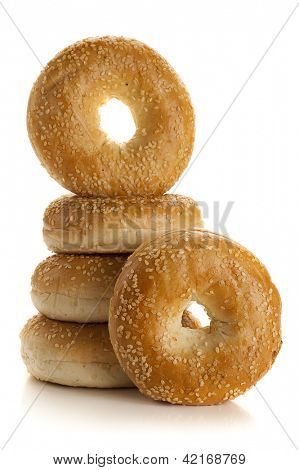 Fresh bagels studio isolated on white background