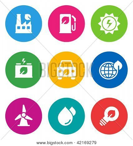 color circular environmental icons isolated on white background.  EPS 10 vector illustration, contains NO transparencies