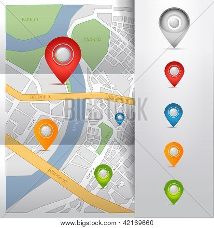 city map with gps pointers icons vector illustration