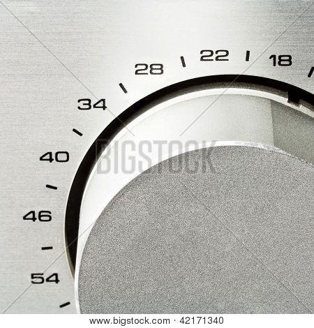 Sound amplifier. Volume knob close up.