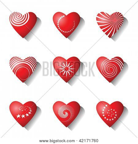 Heart icons. Valentine design elements set. Vector art.