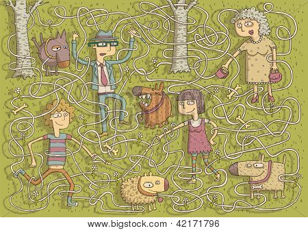 Walking Dogs Maze Game