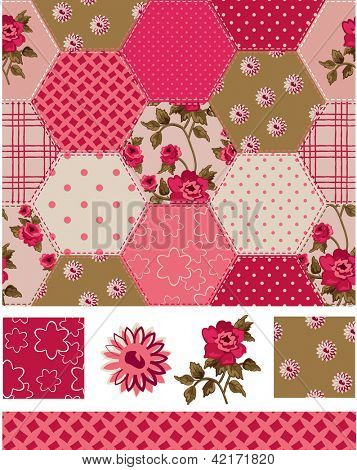 Vintage Inspired Patchwork Rose Seamless Patterns and Icons. Use as fills, digital paper, or print off onto fabric to create unique items.