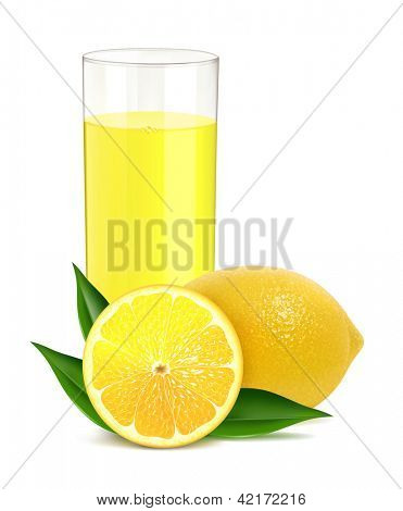 Vector illustration of fresh lemon with juice