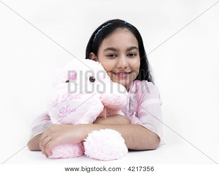 Asian Teenage Girl Of Indian Origin With Her Teddy Bear