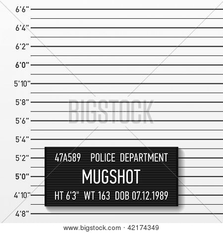 Police mugshot. Add a photo. Vector.