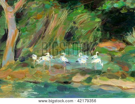 Birds On The Lake Shore