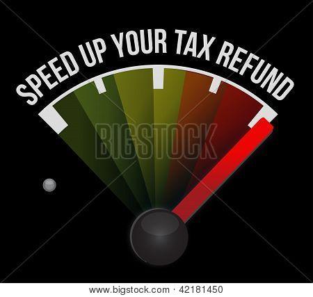 Speed Up Your Tax Refund Speedometer Illustration