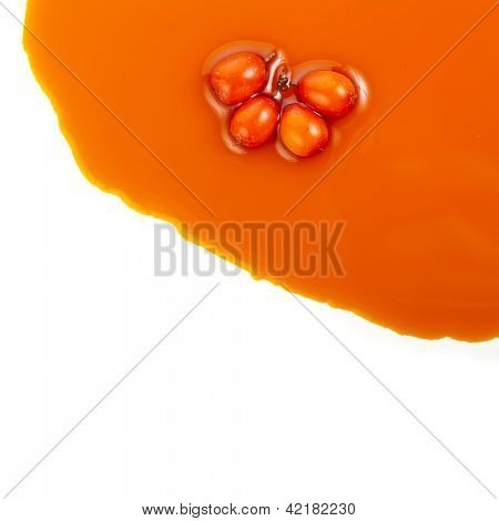 sea-buckthorn sallow thorn oil spread  texture isolated on white