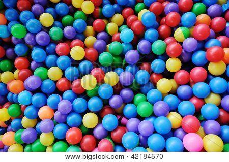 Colorful plastic balls for children background