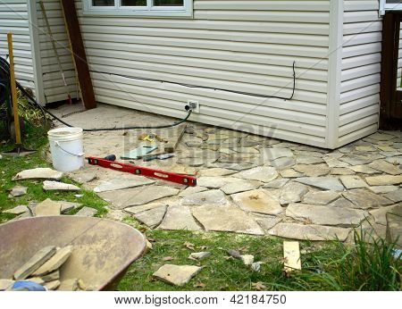 Flagstone Patio Under Construction