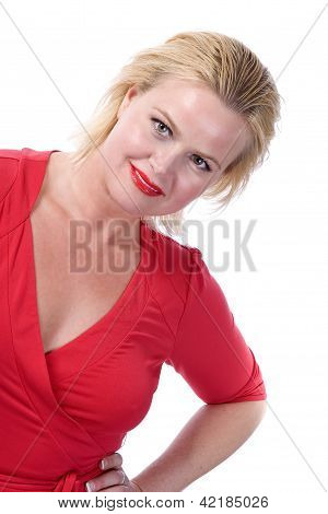 Blonde Woman In Red